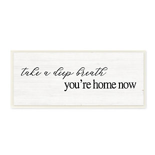 Stupell Deep Breath You're Home Phrase Charming Minimal Text 7 x 17 Wood Wall Art, , large