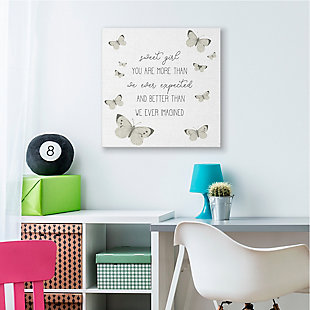 Stupell Sweet Girl More Than Expected Phrase Charming Butterflies 36 X 36 Canvas Wall Art, White, rollover