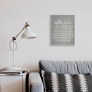 Stupell Sister Definition Family Inspired Phrases Grey Pattern 13 x 19 Wood Wall Art, Gray, rollover