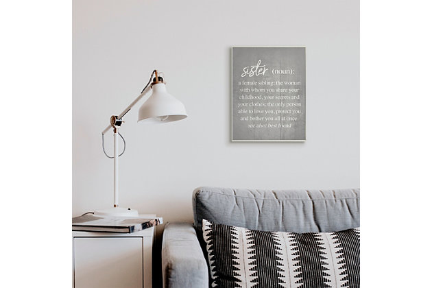 Stupell Sister Definition Family Inspired Phrases Grey Pattern 13 x 19 Wood Wall Art, Gray, large