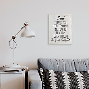 Stupell Dad Thank You Phrase Family Daughter Humor 13 x 19 Wood Wall Art, White, rollover