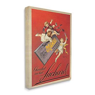 Stupell Chocolat Au Lait Vintage European Advertisement 24 X 30 Canvas Wall Art, Red, large