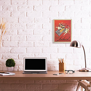 Stupell Chocolat au Lait Vintage European Advertisement 13 x 19 Wood Wall Art, Red, rollover