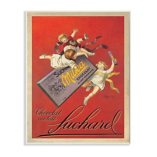 Stupell Chocolat au Lait Vintage European Advertisement 13 x 19 Wood Wall Art, Red, large