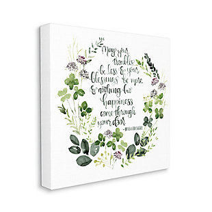 Stupell Troubles Be Less Irish Proverbs Wildflower Wreath 36 X 36 Canvas Wall Art, Green, large