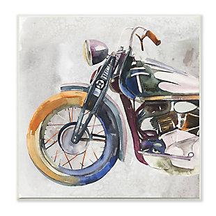 Stupell Motorcycle Chopper Bike Expressive Watercolor Tones 12 x 12 Wood Wall Art, , large
