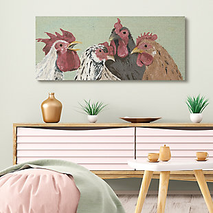 Stupell Four Roosters Clucking Farm Birds Over Green 20 X 48 Canvas Wall Art, Green, rollover