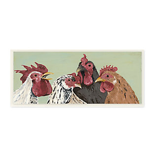 Stupell Four Roosters Clucking Farm Birds over Green 7 x 17 Wood Wall Art, , large