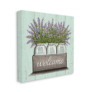 Stupell Purple Lavender Florals In Jars Welcome Sentiments 30 X 30 Canvas Wall Art, Green, large