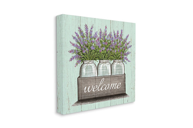 Stupell Purple Lavender Florals in Jars Welcome Sentiments 36 x 36 Canvas Wall Art, Green, large