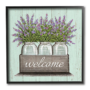 Stupell Purple Lavender Florals in Jars Welcome Sentiments 12 x 12 Framed Wall Art, , large