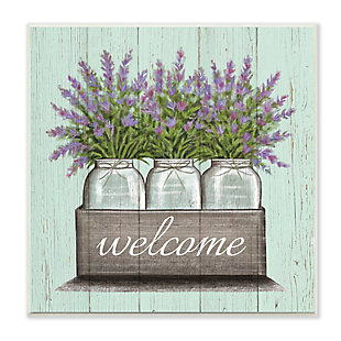 Stupell Purple Lavender Florals in Jars Welcome Sentiments 12 x 12 Wood Wall Art, , large