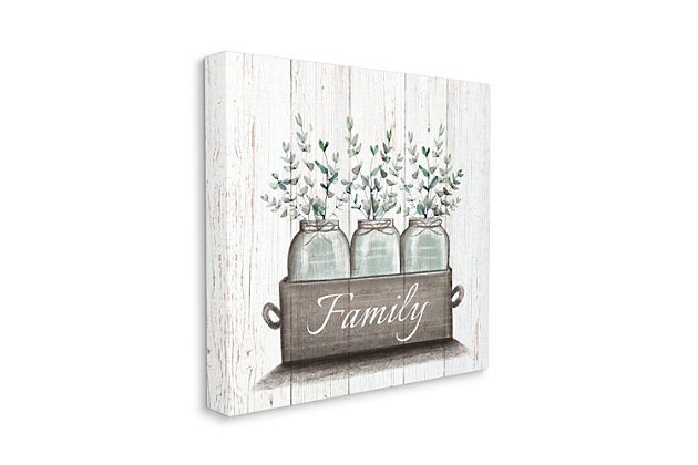Stupell Green Eucalyptus Foliage Jars With Family Sentiments 17 X 17 Canvas Wall Art, Brown, large