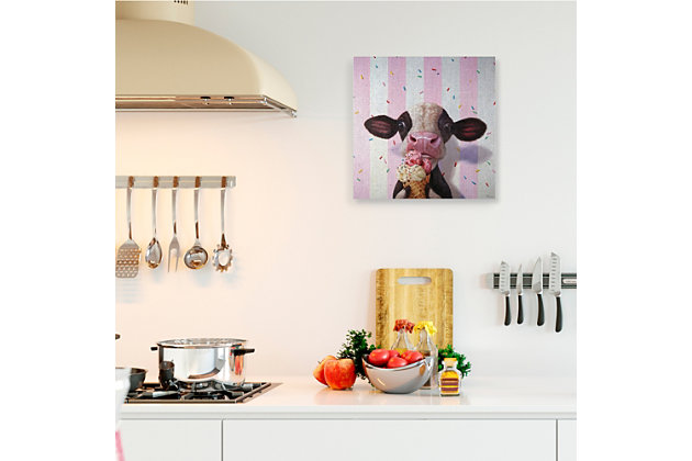 Stupell Cute Baby Cow with Ice Cream Cone Pink Stripes 24 x 24 Canvas Wall Art, Pink, large