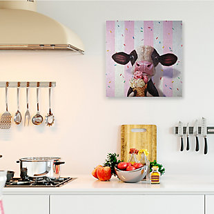 Stupell Cute Baby Cow with Ice Cream Cone Pink Stripes 36 x 36 Canvas Wall Art, Pink, rollover