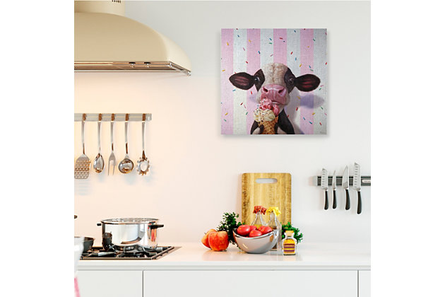 Stupell Cute Baby Cow with Ice Cream Cone Pink Stripes 36 x 36 Canvas Wall Art, Pink, large