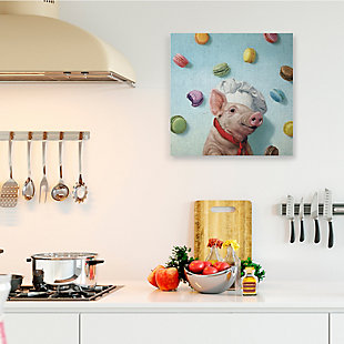 Stupell Adorable Pig Chef with Playful Macaron Pastries 36 x 36 Canvas Wall Art, Blue, rollover