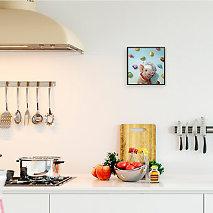 Stupell Adorable Pig Chef with Playful Macaron Pastries 12 x 12 Framed Wall Art, , rollover