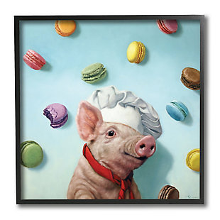 Stupell Adorable Pig Chef with Playful Macaron Pastries 12 x 12 Framed Wall Art, , large