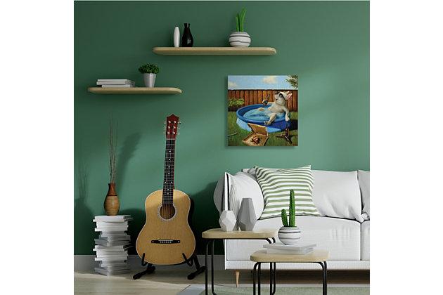 Stupell French Bulldog Drinking Summer Pool Pet Humor 30 x 30 Canvas Wall Art, Green, large