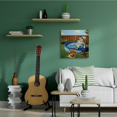 Stupell French Bulldog Drinking Summer Pool Pet Humor 36 x 36 Canvas Wall Art, Green, large