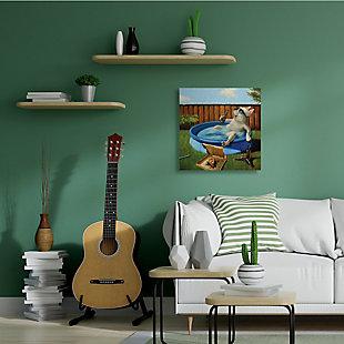 Stupell French Bulldog Drinking Summer Pool Pet Humor 36 x 36 Canvas Wall Art, Green, rollover