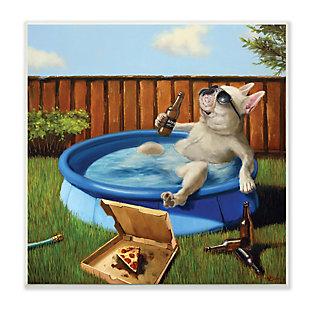 Stupell French Bulldog Drinking Summer Pool Pet Humor 12 x 12 Wood Wall Art, , large