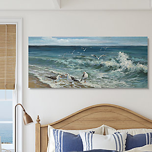 Stupell White Caps On Incoming Tied Beach Seagulls 20 X 48 Canvas Wall Art, Blue, rollover
