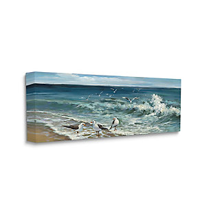 Stupell White Caps On Incoming Tied Beach Seagulls 20 X 48 Canvas Wall Art, Blue, large
