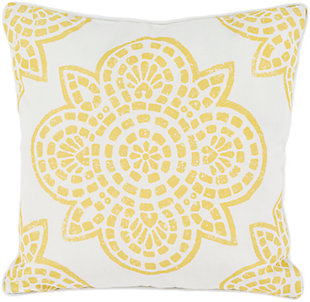 "Hemma Yellow 20"" Indoor/Outdoor Throw Pillow, , rollover"