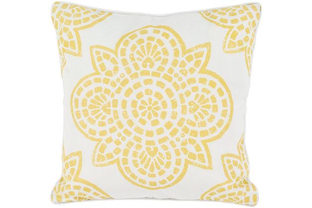 "Hemma Yellow 20"" Indoor/Outdoor Throw Pillow, , large"