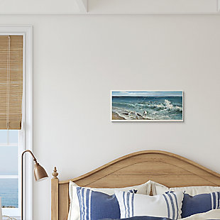 Stupell White Caps on Incoming Tied Beach Seagulls 7 x 17 Wood Wall Art, , rollover