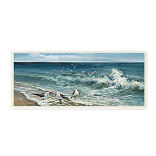 Stupell White Caps on Incoming Tied Beach Seagulls 7 x 17 Wood Wall Art, , large