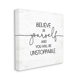 Stupell Believe In Yourself Inspirational Sentiments Distressed Charm 36 X 36 Canvas Wall Art, White, large