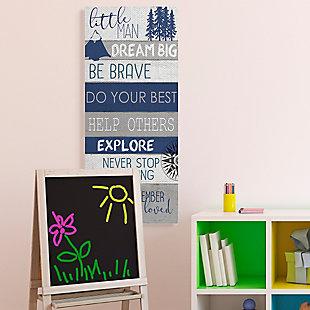 Stupell Little Man Dream Big Phrase Compass Mountains Trees 20 x 48 Canvas Wall Art, Blue, rollover