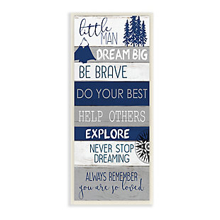 Stupell Little Man Dream Big Phrase Compass Mountains Trees 7 x 17 Wood Wall Art, , large