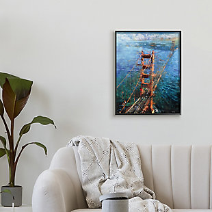 Stupell Golden Gate Bridge Contemporary Abstract Aerial View 24 x 30 Framed Wall Art, Blue, rollover