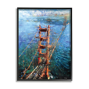 Stupell Golden Gate Bridge Contemporary Abstract Aerial View 24 x 30 Framed Wall Art, Blue, large