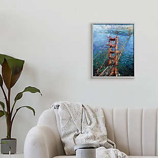 Stupell Golden Gate Bridge Contemporary Abstract Aerial View 16 x 20 Framed Wall Art, Blue, rollover
