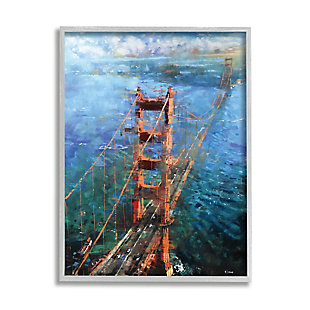 Stupell Golden Gate Bridge Contemporary Abstract Aerial View 16 x 20 Framed Wall Art, Blue, large
