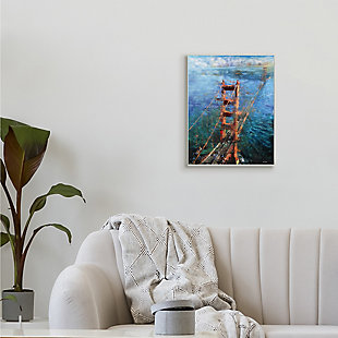 Stupell Golden Gate Bridge Contemporary Abstract Aerial View 13 x 19 Wood Wall Art, Blue, rollover