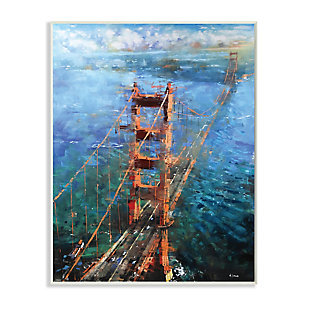 Stupell Golden Gate Bridge Contemporary Abstract Aerial View 13 x 19 Wood Wall Art, Blue, large