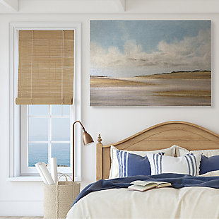 Stupell Calming Creek Landscape Warm Tones Cloudy Sky 36 x 48 Canvas Wall Art, Beige, rollover