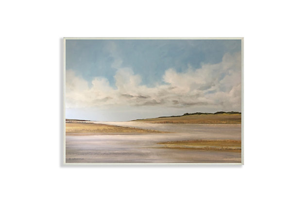 Stupell Calming Creek Landscape Warm Tones Cloudy Sky 13 x 19 Wood Wall Art, Beige, large