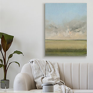 Stupell Soothing Prairie Landscape Wheat Field and Sky 36 x 48 Canvas Wall Art, Green, rollover