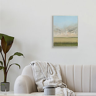 Stupell Soothing Prairie Landscape Wheat Field and Sky 13 x 19 Wood Wall Art, Green, rollover