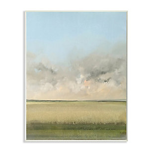 Stupell Soothing Prairie Landscape Wheat Field and Sky 13 x 19 Wood Wall Art, Green, large