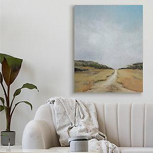 Stupell Tranquil Path Through Field Blue Sky 36 X 48 Canvas Wall Art, Beige, rollover