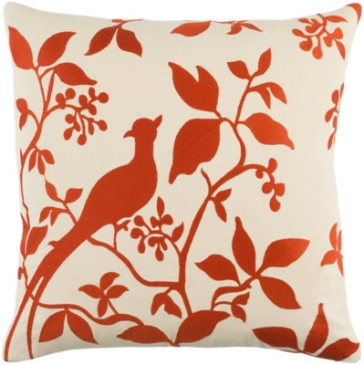 "Kingdom Birch Cream 18"" Throw Pillow, Ivory/Red, large"