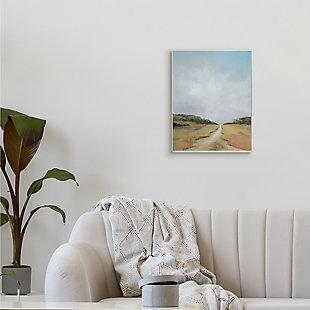Stupell Tranquil Path Through Field Blue Sky 13 x 19 Wood Wall Art, Beige, rollover